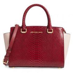 MICHAEL Michael Kors Embossed Leather Medium Mulberry/Pink Selma Satchel - 25% Off