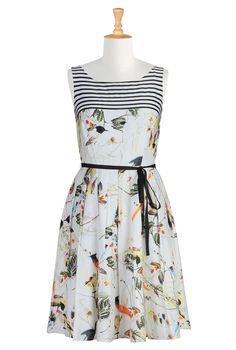 #eShakti, Printed Dress, Satin Dress, Dresses