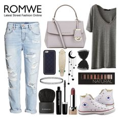 """Grey T-shirt by ROMWE"" by just1girl ❤ liked on Polyvore featuring H&M, Converse, Marc Jacobs, Forever 21, Givenchy, MICHAEL Michael Kors, Tory Burch and Quiksilver"