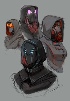 Can represent different countries or ethnicities through the hood and mask worn by each person. Really like the different simple variations but mainly the light that is emitted by each mask. Robot Concept Art, Armor Concept, Character Concept, Character Art, Concept Art Landscape, Cyberpunk Kunst, Character Design Inspiration, Fantasy Characters, Art Sketches