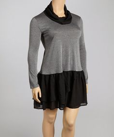 Gray & Black Drop-Waist Dress - Plus #zulily #zulilyfinds