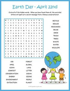 Celebrate Earth Day, April with this fun little word search worksheet… Earth Day Activities, Activities For Kids, Teaching English, Learn English, English Class, Printable Puzzles, Crossword Puzzles, Printables, Hidden Words