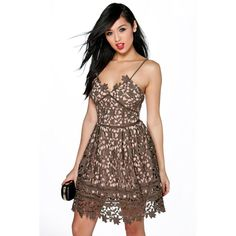 Boohoo Night Boutique Heather Corded Lace Strappy Prom Dress ($52) ❤ liked on Polyvore featuring dresses, khaki, cocktail party dress, sequin prom dresses, sequin party dresses, prom dresses and sequin dress