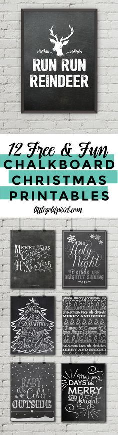 12 Free Chalkboard Christmas Printables • Little Gold Pixel