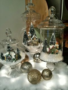 Christmas village in apothecary jars, Pinterest inspired. ..love it!