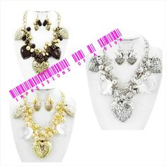 \GET IT BEFORE CHRISTMAS!!! HEART CLUSTER NECKLACE SET WITH FISH HOOK EARRINGS