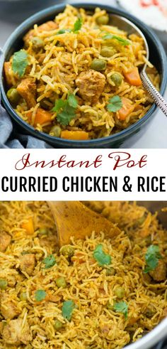 Instant Pot Chicken and rice curried chicken and rice made in the Instant Pot is flavoured with garlic ginger and curry powder. Fluffy basmati rice chicken carrot peas this wholesome meal is definitely going to impress you. Curry Chicken And Rice, Curry Rice, Chicken Curry Sauce, Curry Shrimp, Curry Soup, Kitchen Recipes, Cooking Recipes, Basmati Rice Recipes, Flavoured Rice Recipes