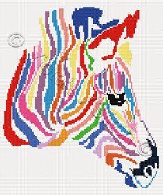 Rainbow zebra cross stitch kit, pattern   Yiotas XStitch