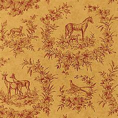 Thibaut Toile Resource Vol II - Torrington - Fabric - Rust on Camel