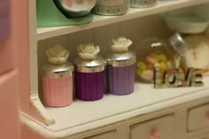 Dolhouse miniature canisters, lovely set of 3 canisters for your dollhouse…
