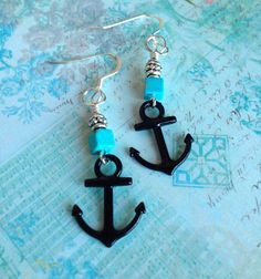 Black Anchor with Turquoise Cube Earring