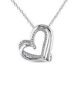 Diamond & Sterling Silver Cutout Heart Pendant Necklace #zulily #zulilyfinds