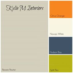 revere pewter grey paint color palette with orange, cream, navy blue and inexperienced for greatest boys room paint colors