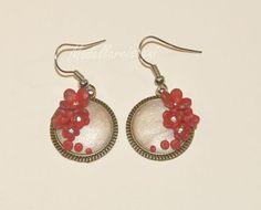 Valentine Day  Poppy Red Flowers Earrings Pendant by girasole, $10.00