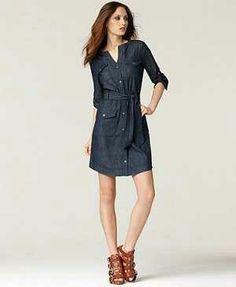 63cce82f40e9 Calvin Klein Jeans Three Quarter Sleeve Belted Denim Shirtdress in Blue ( denim) - Lyst