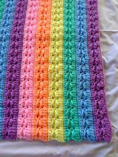 Pastel Rainbow Baby Blanket by CustomCrochetByAlan on Etsy, $45.00
