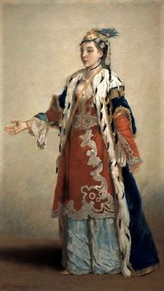 'French lady in Constantionople', ca. 1740.  Painting by Jean-Étienne Liotard (1702-1789), who lived in Istanbul in 1738-1742.  He continued to wear Turkish dress for much of the time when back in Europe, and was called 'le peintre Turc' (the Turkish painter).