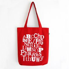 Red Welsh Alphabet Tote Bag from Peris & Corr