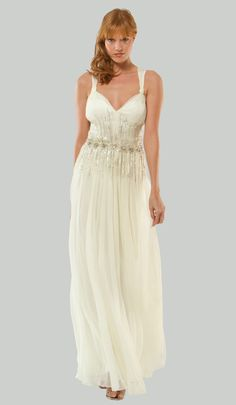 MIGNON 2011 Wedding Dresses - Ivory Grecian Beaded Waist Chiffon Destination Wedding Gown [Item#17663-MB-103]