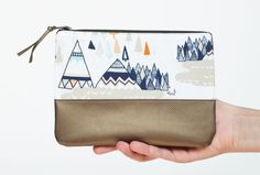 Zipper Pouch with Leather Trim Accent  Sarah by sewandtellhandmade, $18.00
