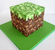 Minecraft Block cake with chocolate squares! Yummm
