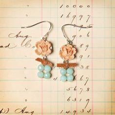 Peach Flower Earrings by Elements Jill Schwartz. Vintage resin rose, amazonite and suede ribbon. $48.