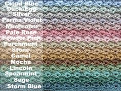 Color Inspiration :: Dune Blanket, free pattern by Lucy of Fifteen beach-inspired colors in Stylecraft DK yarn. Crochet Home, Crochet Baby, Knit Crochet, Crotchet, Lincoln, Yarn Color Combinations, Yarn Bag, Knitted Blankets, Crocheted Afghans