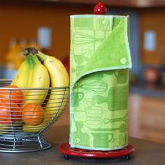 Reusable Eco Friendly Snapping Non-Paper Towel Set by mamamade - made from a 100% cotton print backed by a 100% cotton terry cloth, prewashed to minimize shrinkage. Fits on a cardboard towel tube and paper towel holder.