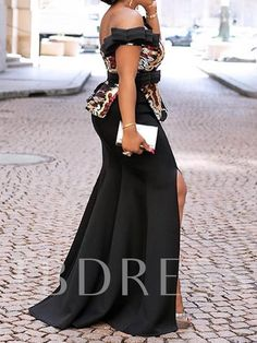 Off Shoulder Sexy Party Bodycon Dress Women Floral Backless Elegant Evening Split Summer High Waist Mermaid African Long Dresses African Fashion Dresses, African Dress, Chic Fall Fashion, African Blouses, Ankara Skirt And Blouse, African Wedding Dress, Bodycon Dress Parties, Asymmetrical Dress, Floral Maxi Dress