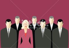 Corporate suits - and one dress. (vector & jpg) Royalty Free Stock Vector Art Illustration
