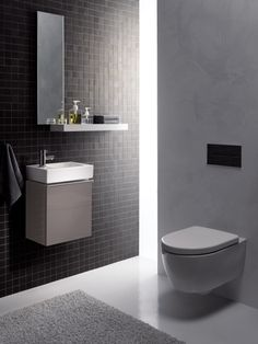 The Geberit iCon bathroom series shines with its linear design and impressive versatility. Art Deco Bathroom, Grey Bathroom Vanity, Modern Master Bathroom, Classic Bathroom, Bathroom Design Small, Bathroom Designs, Small White Bathrooms, Rustic Bathrooms, Bad Inspiration