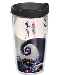 """Hydrate and enjoy your favorite beverage in this Tervis """"The Nightmare Before Christmas"""" Wrap Tumbler with Lid. This tumbler features imagery of Jack Skellington and Sally and has double-walled insulation to keep cold drinks cold and hot drinks hot. Holiday Drinkware, Christmas Tumblers, Tervis Tumbler, Walmart, Oogie Boogie, Old Fashioned Glass, Wine Glass Set, Jack And Sally, Tumblers With Lids"""