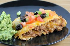 Taco Bake...layer flour tortillas in a casserole dish with taco meat and cheese, like lasagna...yum!