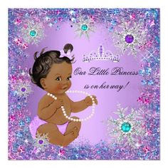 Teal Blue Purple Pink Princess Baby Shower Ethnic Card