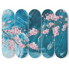 Design - 5 Skateboard Wall Art - Design - 5 Skateboard W. Painted Skateboard, Skateboard Deck Art, Skateboard Design, Custom Skateboard Decks, Custom Decks, Custom Skateboards, Cool Skateboards, Cherry Blossom Japon, Art Michael Jordan