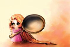 Tiny Rapunzel with Big Frying Pan
