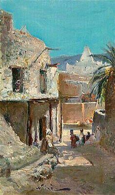 Peinture d'Algérie -  Peintre Français, Maxime NOIRÉ(1861-1927), huile sur toile, Titre :  Village à Bou Saâda.