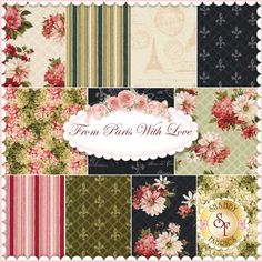 From Paris With Love 11 FQ Set by Lisa Audit for Wilmington Prints: From Paris With Love is a collection by Lisa Audit for Wilmington Prints. 100% Cotton. This set contains 11 fat quarters, each measuring approximately 18