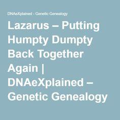 Lazarus – Putting Humpty Dumpty Back Together Again | DNAeXplained – Genetic Genealogy