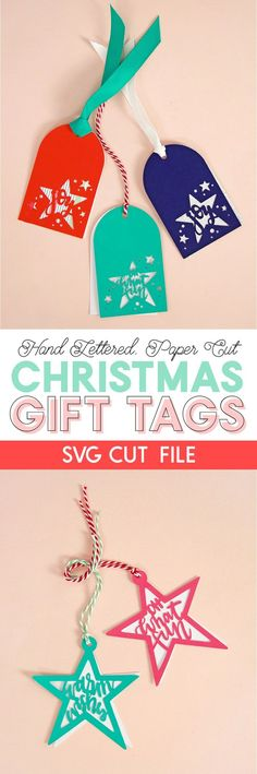 Christmas DIY: Illustration Description paper cut christmas gift tags - svg cut file - make your own tags with your silhouette or cricut Diy Christmas Cards Cricut, Sewn Christmas Ornaments, Christmas Svg, Christmas Gift Tags, Christmas Decorations, Christmas Ideas, Christmas Sewing, Christmas Printables, Diy Weihnachten