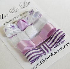 The Purple and White Collection - Baby Hair Clip Gift Set - Set of 4 - Baby Toddler Hair Bows - Alligator Clips. $6.65, via Etsy.