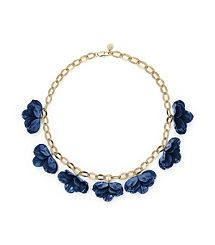 Tory Burch Pentier Multi Flower Necklace in Navy/Aged Gold