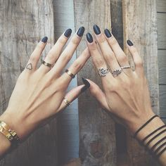 I'm really into black nails and multiple rings. I've just gotta find the right combination to become my trademark.
