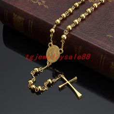 Fashion Round Ball Beads Rosary Jesus Cross Pendant Cool Men's Women's Stainless Steel Chain Necklace Choker Neck Jewelry 6mm #Affiliate
