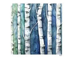 Watercolor Birch Trees Painting Print by TheColorfulCatStudio Birch Trees Painting, Birch Tree Art, White Birch Trees, Tree Watercolor Painting, Watercolor Water, Galaxy Painting, Watercolor Print, Painting On Wood, Painting Prints