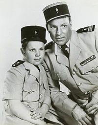 Buster Crabbe and his son Cullen Crabbe on the TV show Captain Gallant of the Foreign Legion -- Cullen played 'Cuffy' Cpt. Gallant's son on the series. Childhood Tv Shows, My Childhood Memories, Classic Tv, Classic Films, Old Time Radio, Tv Westerns, The Lone Ranger, Vintage Tv, Vintage Stuff