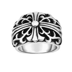 Ring Silver Oxidized Shiny Fancy