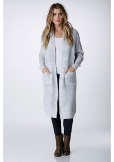 Knit This Way Long Open Cardigan in Grey | Necessary Clothing