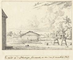 Dirk Valkenburg | Gezicht op de plantage Surimonbo te Suriname, Dirk Valkenburg, 1708 | Gezicht op de plantage Surimonbo van Jonas Witzen te Suriname.