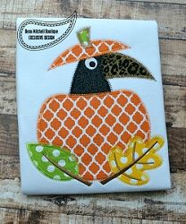 Pumpkin Crow Applique, 2 Styles - 4 Sizes! | What's New | Machine Embroidery Designs | SWAKembroidery.com Beau Mitchell Boutique